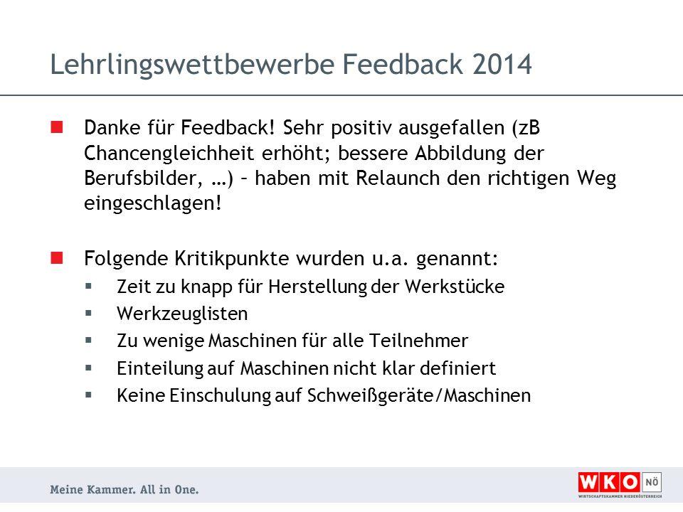 Lehrlingswettbewerbe Feedback 2014 Danke für Feedback.