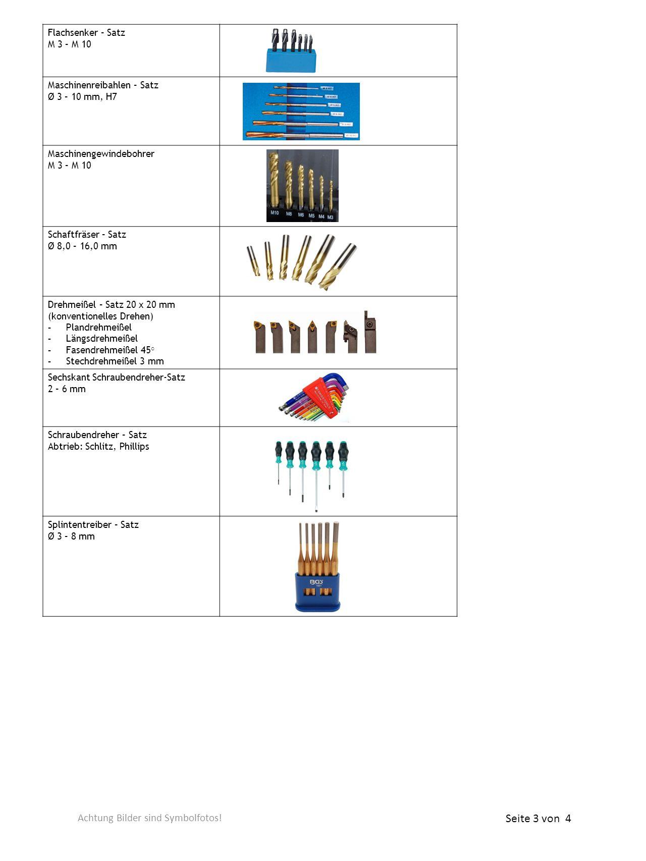 Flachsenker – Satz M 3 – M 10 Maschinenreibahlen – Satz Ø 3 – 10 mm, H7 Maschinengewindebohrer M 3 – M 10 Schaftfräser – Satz Ø 8,0 – 16,0 mm Drehmeiß