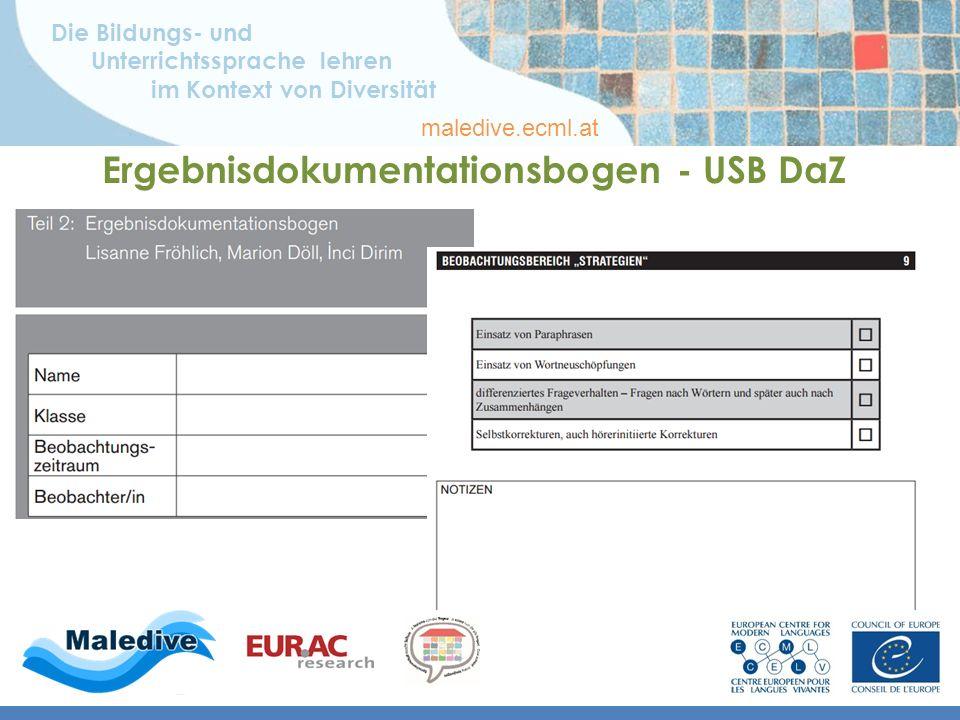 Die Bildungs- und Unterrichtssprache lehren im Kontext von Diversität maledive.ecml.at Ergebnisdokumentationsbogen - USB DaZ