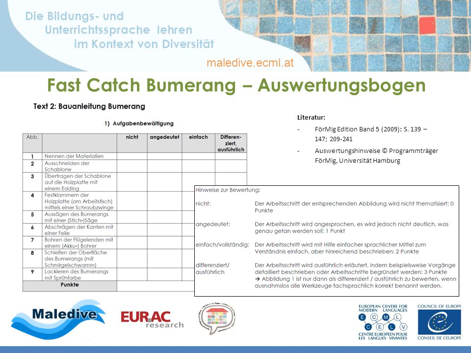 Die Bildungs- und Unterrichtssprache lehren im Kontext von Diversität maledive.ecml.at Fast Catch Bumerang – Auswertungsbogen Literatur: -FörMig Edition Band 5 (2009): S.