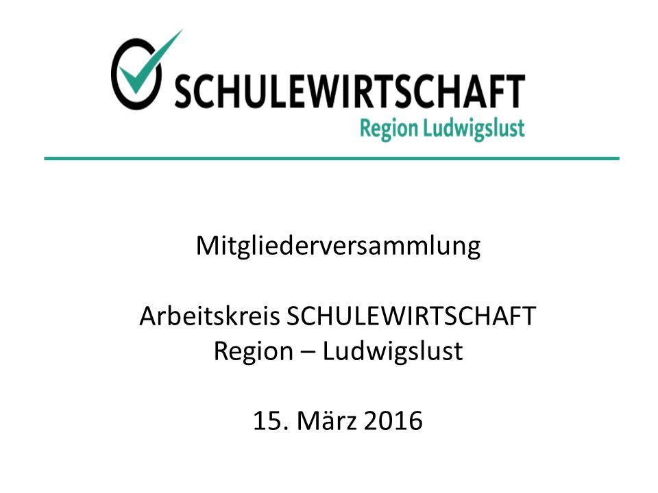 Mitgliederversammlung Arbeitskreis SCHULEWIRTSCHAFT Region – Ludwigslust 15. März 2016