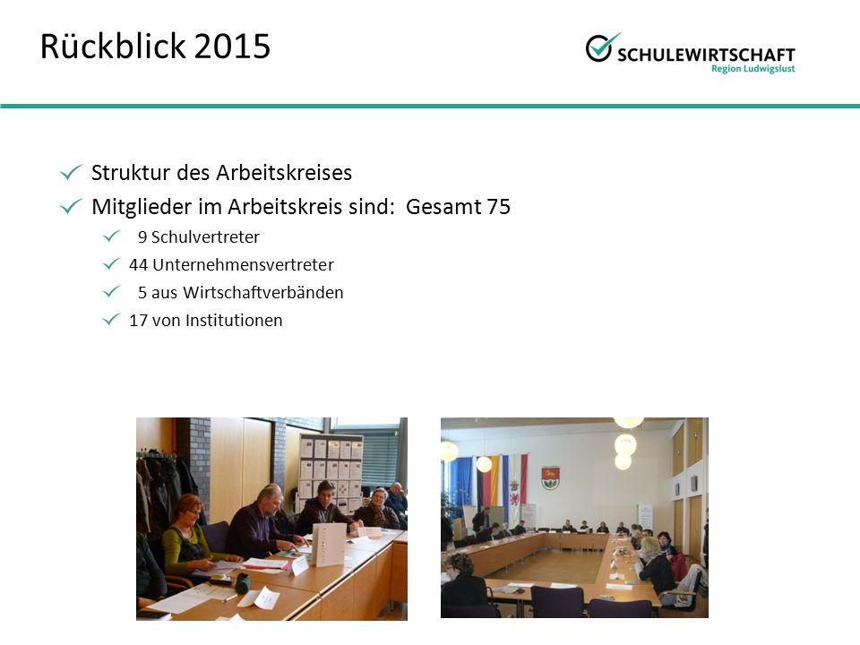 Rückblick 2015 Struktur des Arbeitskreises Mitglieder im Arbeitskreis sind: Gesamt 75 9 Schulvertreter 44 Unternehmensvertreter 5 aus Wirtschaftverbänden 17 von Institutionen