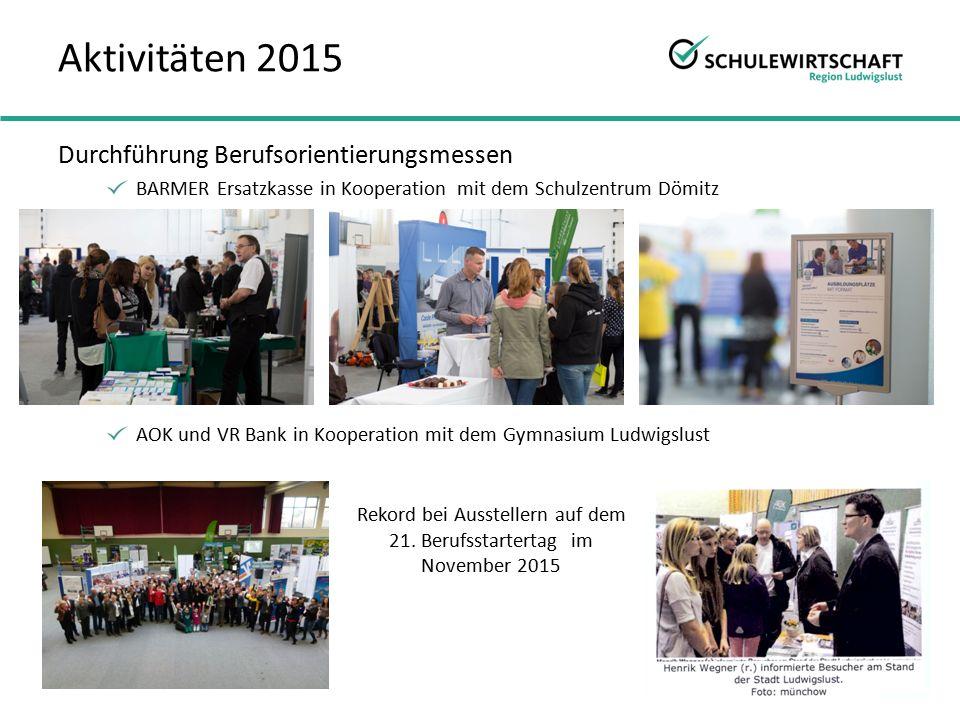 Durchführung Berufsorientierungsmessen BARMER Ersatzkasse in Kooperation mit dem Schulzentrum Dömitz AOK und VR Bank in Kooperation mit dem Gymnasium Ludwigslust Rekord bei Ausstellern auf dem 21.