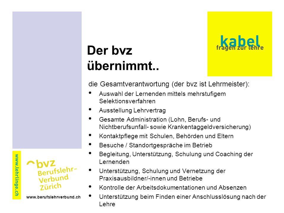 www.berufslehrverbund.ch Der bvz übernimmt..