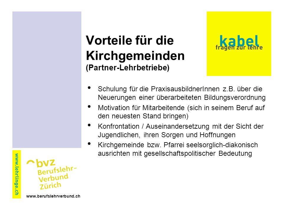 www.berufslehrverbund.ch Vorteile für die Kirchgemeinden (Partner-Lehrbetriebe) Schulung für die PraxisausbildnerInnen z.B.