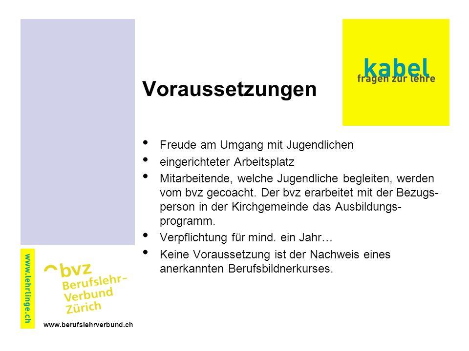 www.berufslehrverbund.ch Voraussetzungen Freude am Umgang mit Jugendlichen eingerichteter Arbeitsplatz Mitarbeitende, welche Jugendliche begleiten, werden vom bvz gecoacht.