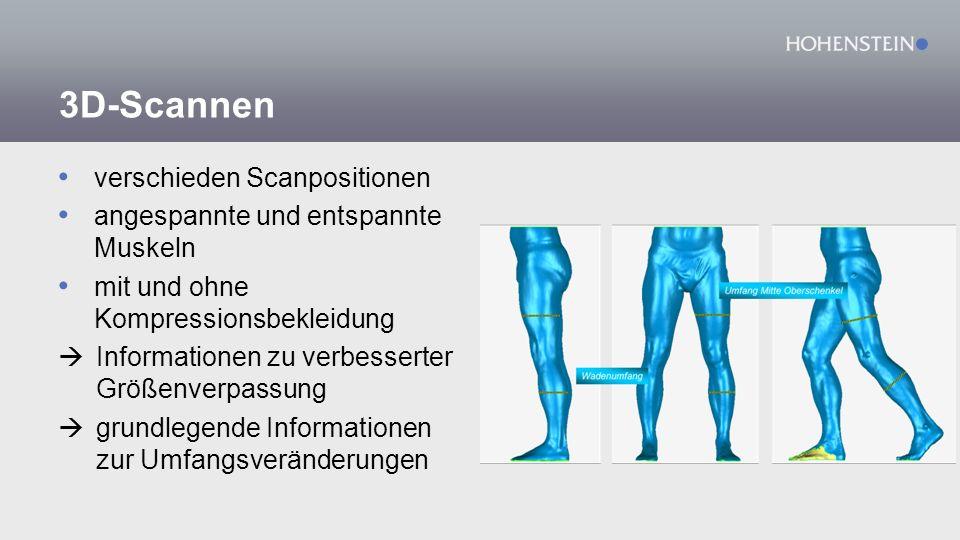 3D-Scannen verschieden Scanpositionen angespannte und entspannte Muskeln mit und ohne Kompressionsbekleidung  Informationen zu verbesserter Größenverpassung  grundlegende Informationen zur Umfangsveränderungen