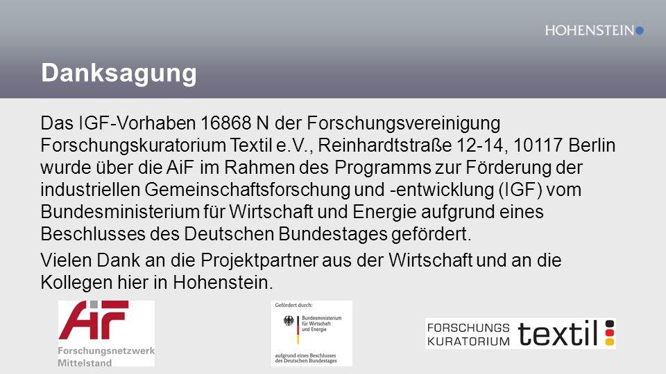 Danksagung Das IGF-Vorhaben 16868 N der Forschungsvereinigung Forschungskuratorium Textil e.V., Reinhardtstraße 12-14, 10117 Berlin wurde über die AiF im Rahmen des Programms zur Förderung der industriellen Gemeinschaftsforschung und -entwicklung (IGF) vom Bundesministerium für Wirtschaft und Energie aufgrund eines Beschlusses des Deutschen Bundestages gefördert.