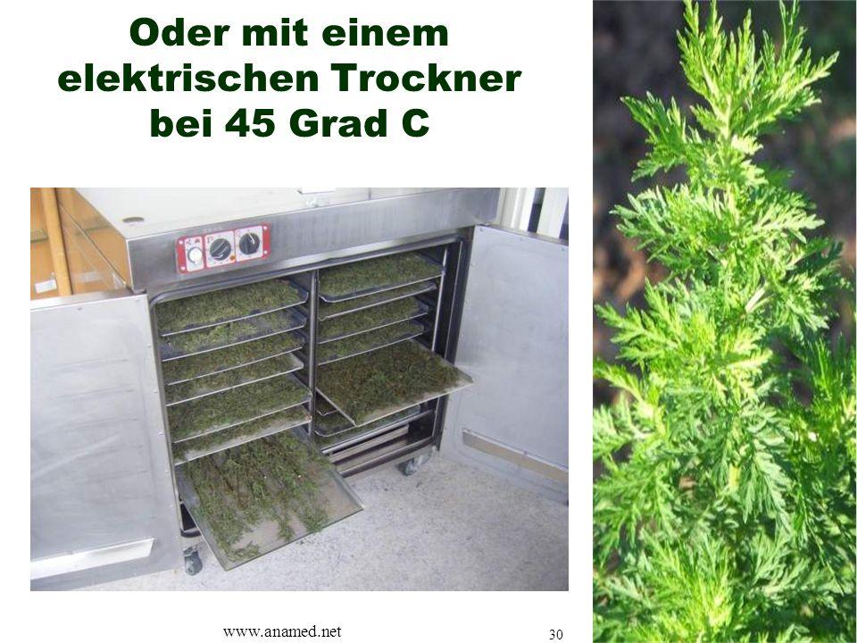 Oder mit einem elektrischen Trockner bei 45 Grad C www.anamed.net 30