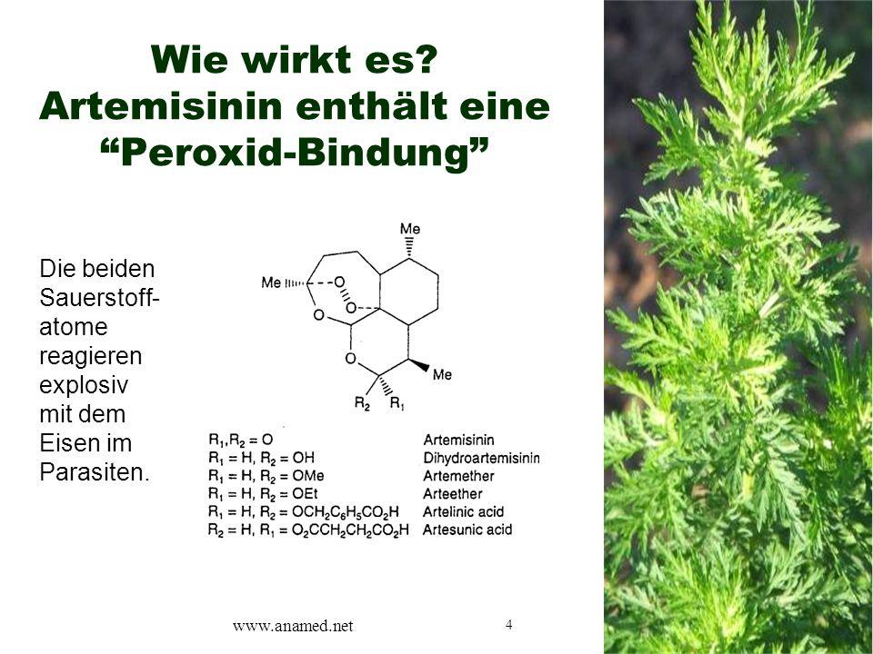 """4 Wie wirkt es? Artemisinin enthält eine """"Peroxid-Bindung"""" Die beiden Sauerstoff- atome reagieren explosiv mit dem Eisen im Parasiten. www.anamed.net"""