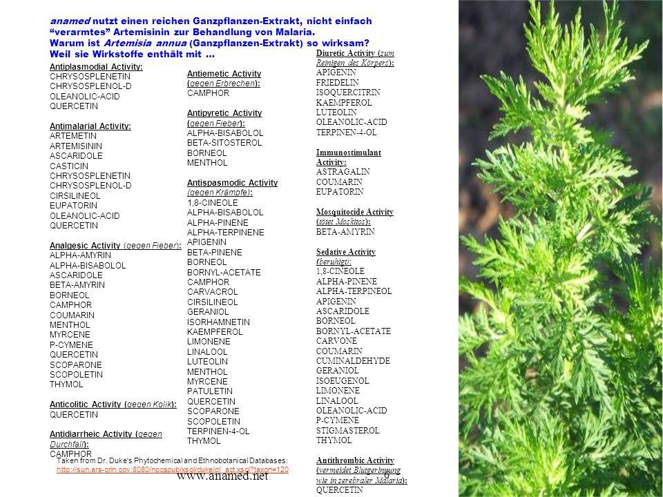 """6 anamed nutzt einen reichen Ganzpflanzen-Extrakt, nicht einfach """"verarmtes"""" Artemisinin zur Behandlung von Malaria. Warum ist Artemisia annua (Ganzpf"""