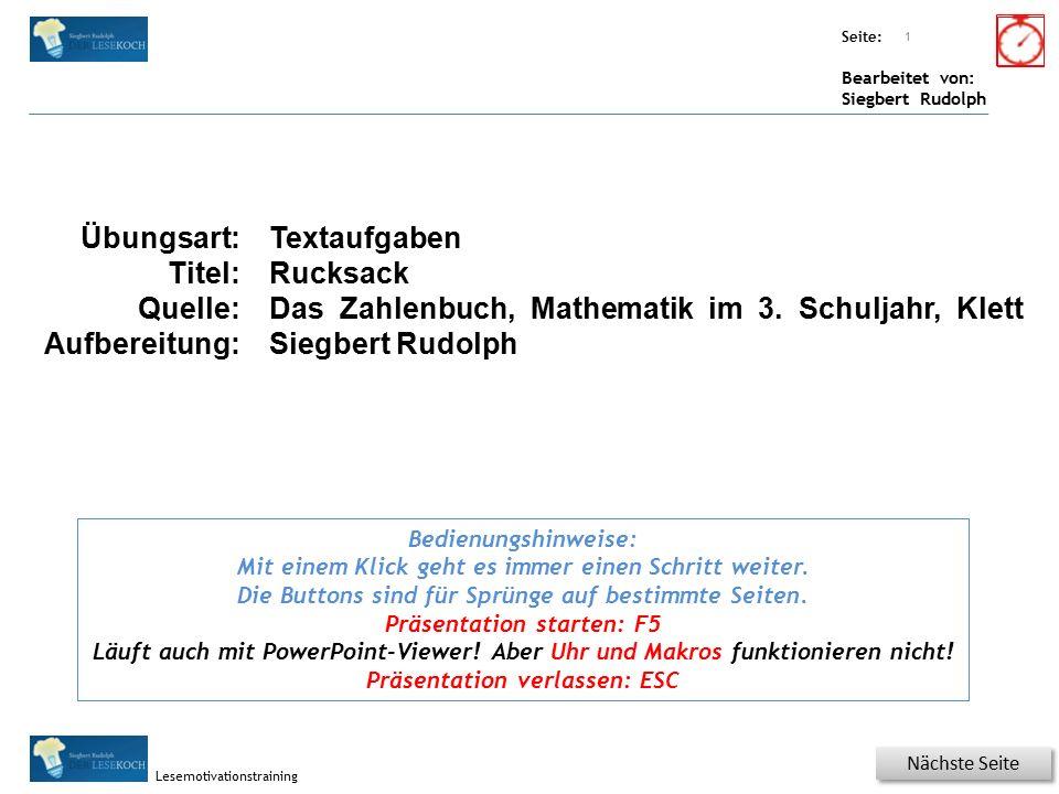 Übungsart: Titel: Quelle: Seite: Bearbeitet von: Siegbert Rudolph Lesemotivationstraining 2 Hinweis Textaufgabe 2 Textaufgabe Elisabeth soll einkaufen.