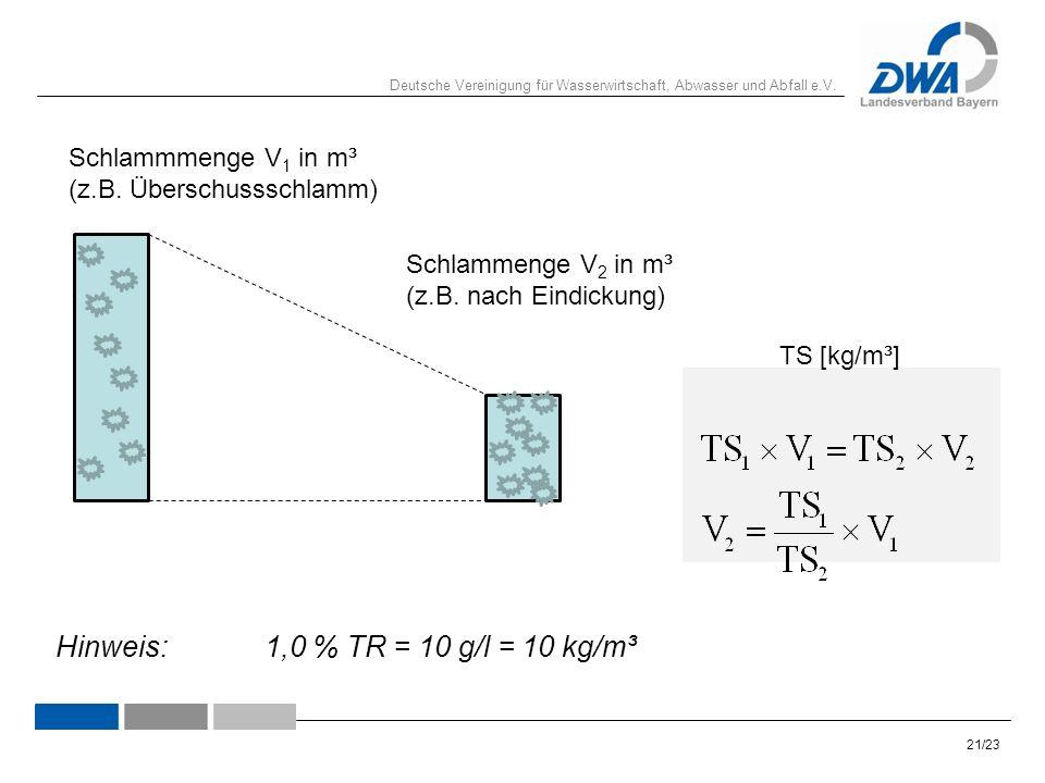 Deutsche Vereinigung für Wasserwirtschaft, Abwasser und Abfall e.V. 21/23 Schlammmenge V 1 in m³ (z.B. Überschussschlamm) Hinweis:1,0 % TR = 10 g/l =