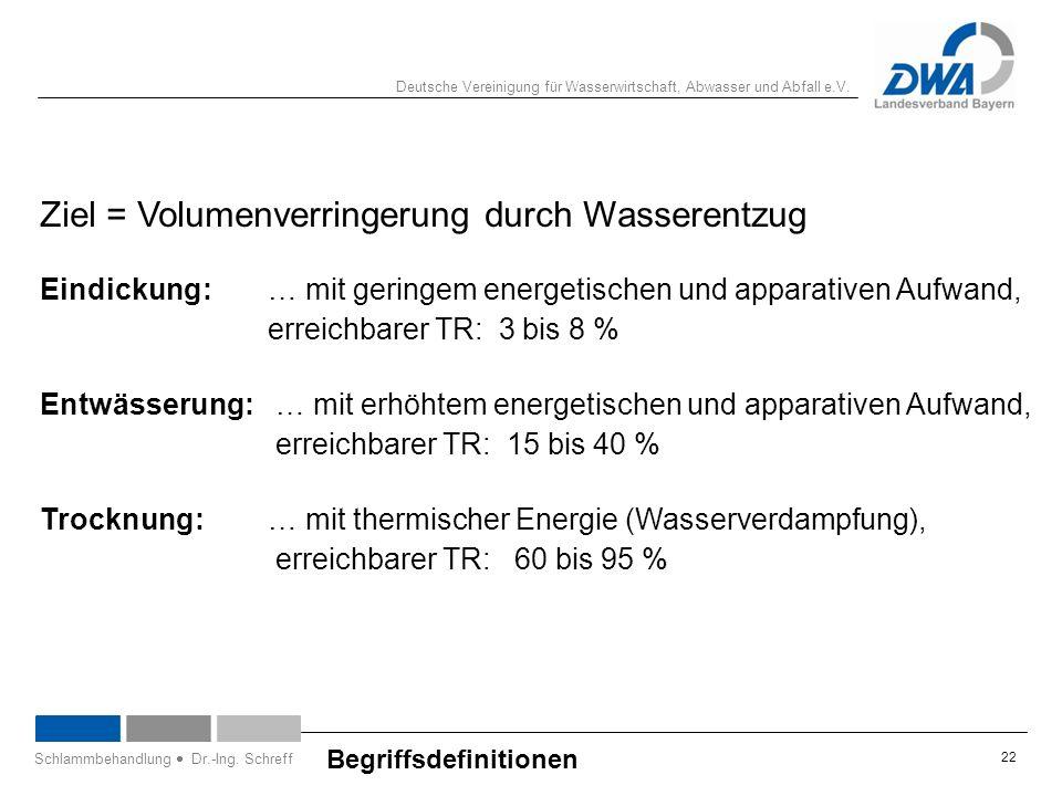 Deutsche Vereinigung für Wasserwirtschaft, Abwasser und Abfall e.V. 22 Begriffsdefinitionen Schlammbehandlung  Dr.-Ing. Schreff Ziel = Volumenverring