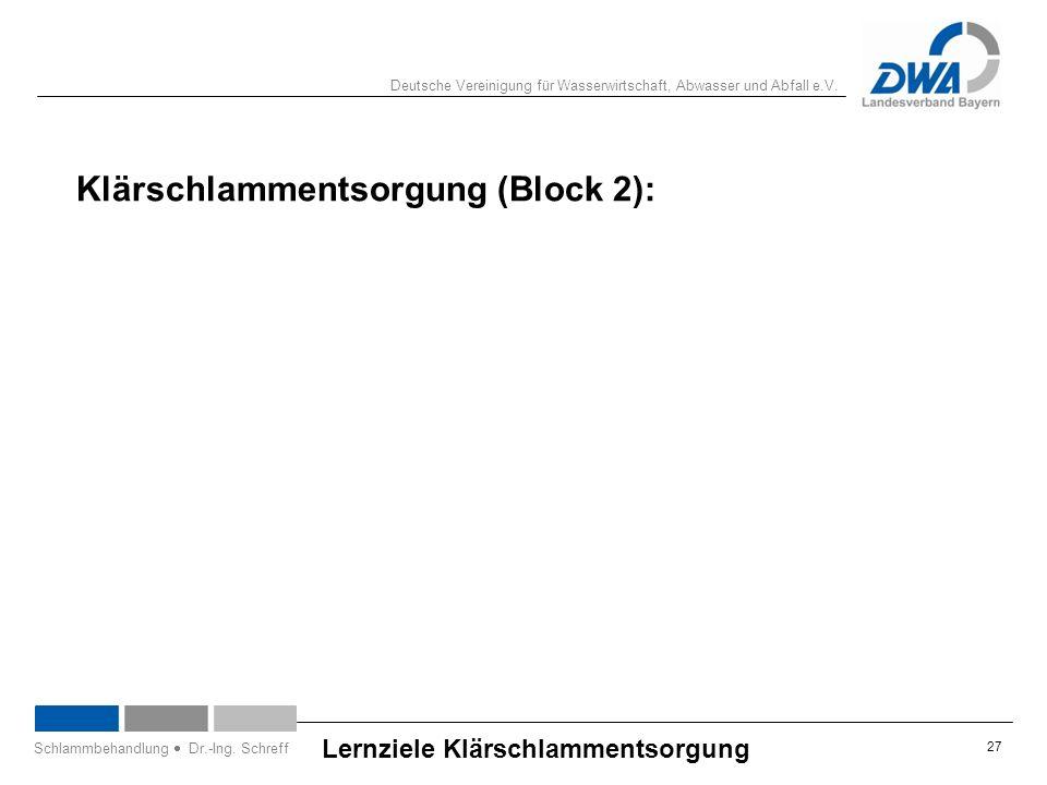 Deutsche Vereinigung für Wasserwirtschaft, Abwasser und Abfall e.V. 27 Lernziele Klärschlammentsorgung Schlammbehandlung  Dr.-Ing. Schreff Klärschlam