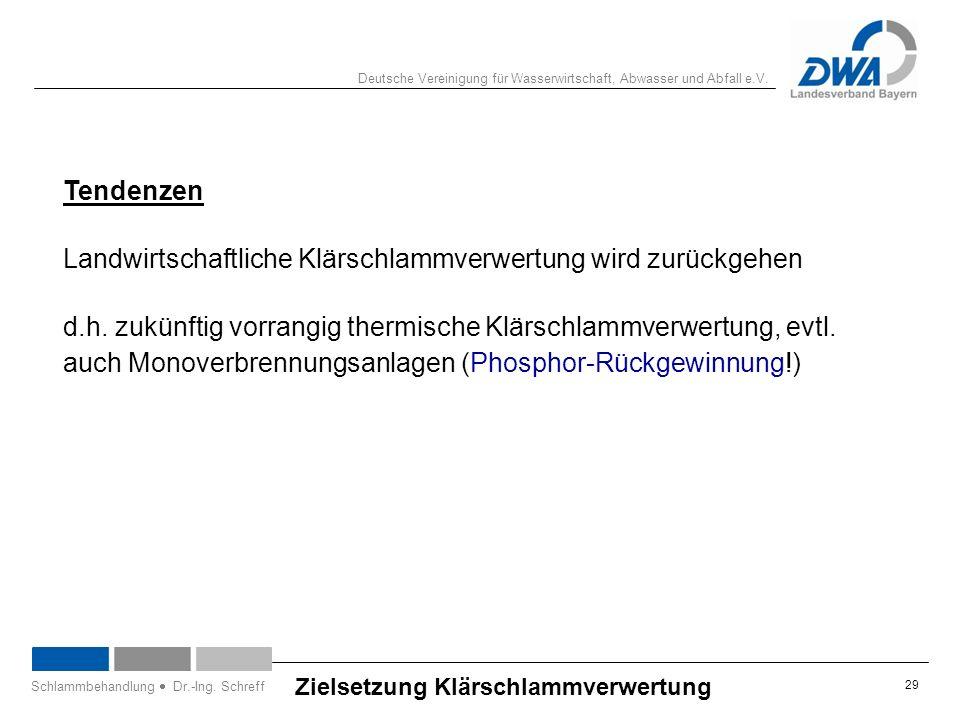 Deutsche Vereinigung für Wasserwirtschaft, Abwasser und Abfall e.V. 29 Zielsetzung Klärschlammverwertung Schlammbehandlung  Dr.-Ing. Schreff Tendenze