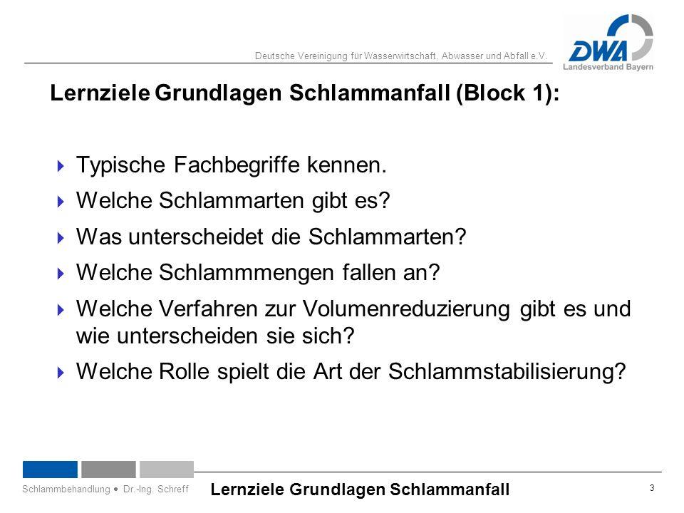 Deutsche Vereinigung für Wasserwirtschaft, Abwasser und Abfall e.V. 3 Lernziele Grundlagen Schlammanfall Schlammbehandlung  Dr.-Ing. Schreff Lernziel