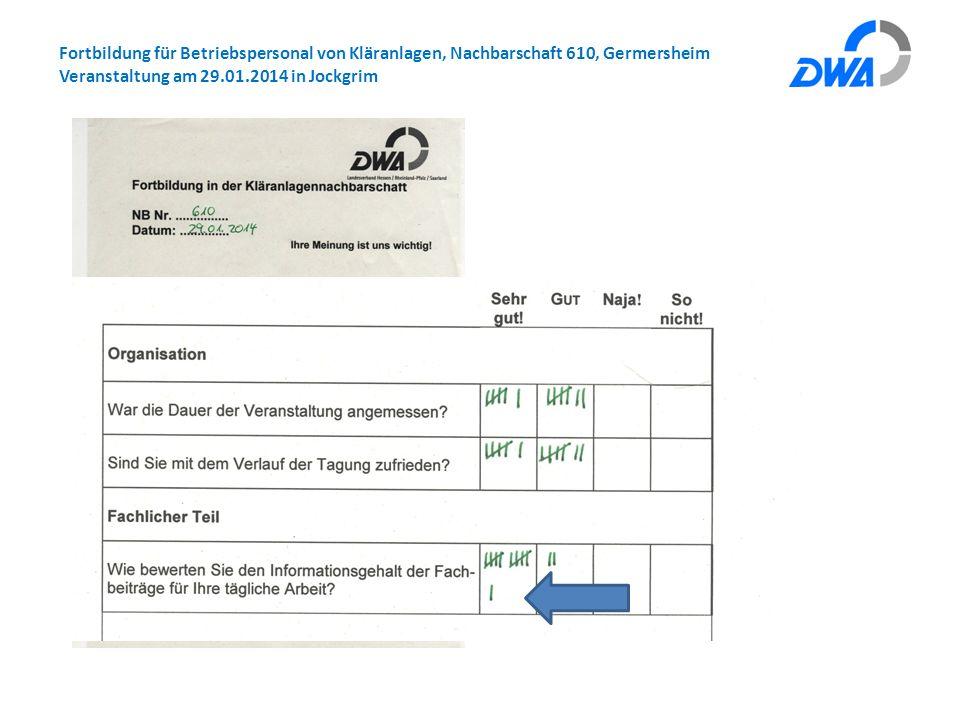Fortbildung für Betriebspersonal von Kläranlagen, Nachbarschaft 610, Germersheim Veranstaltung am 29.01.2014 in Jockgrim