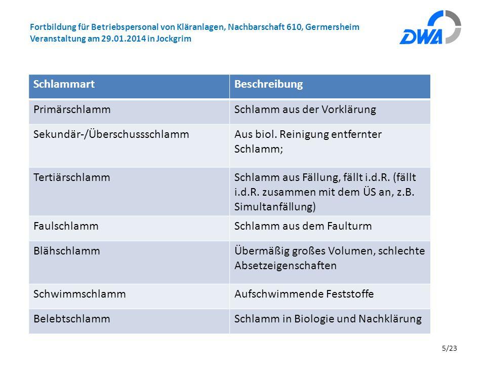 Fortbildung für Betriebspersonal von Kläranlagen, Nachbarschaft 610, Germersheim Veranstaltung am 29.01.2014 in Jockgrim 5/23 SchlammartBeschreibung P