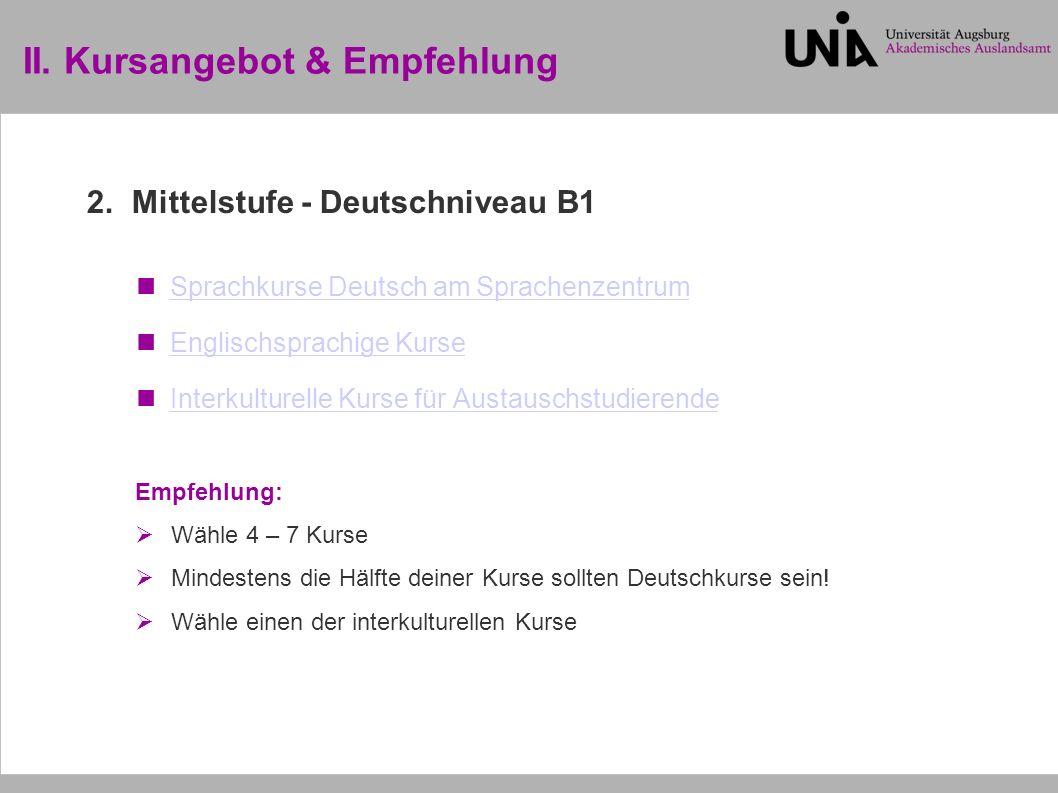 II. Kursangebot & Empfehlung 2.
