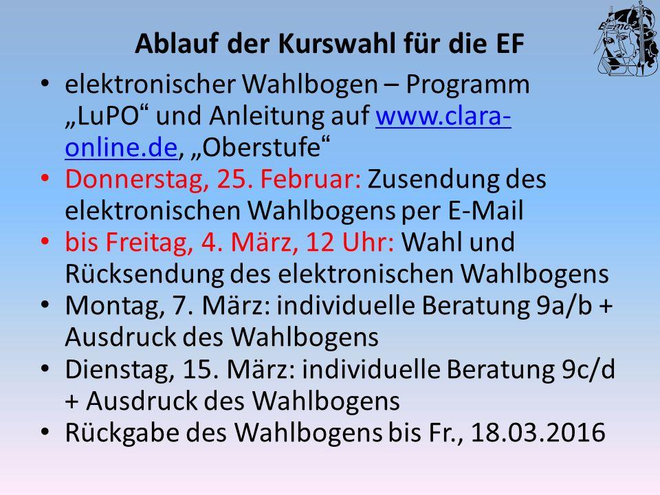 """Ablauf der Kurswahl für die EF elektronischer Wahlbogen – Programm """"LuPO"""" und Anleitung auf www.clara- online.de, """"Oberstufe""""www.clara- online.de Donn"""