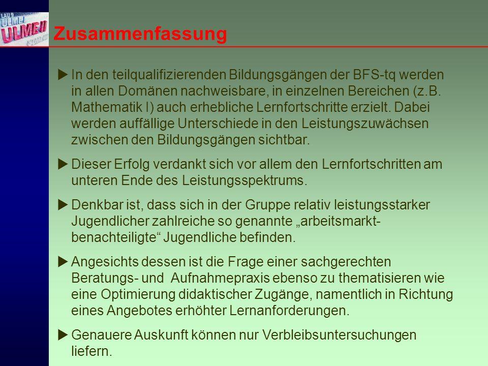  In den teilqualifizierenden Bildungsgängen der BFS-tq werden in allen Domänen nachweisbare, in einzelnen Bereichen (z.B.