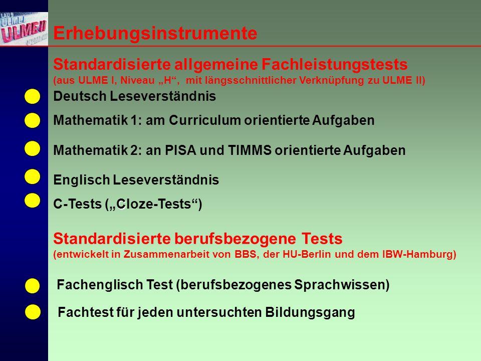 """Erhebungsinstrumente Englisch Leseverständnis C C-Tests (""""Cloze-Tests ) Mathematik 1: am Curriculum orientierte Aufgaben Mathematik 2: an PISA und TIMMS orientierte Aufgaben Deutsch Leseverständnis Standardisierte allgemeine Fachleistungstests (aus ULME I, Niveau """"H , mit längsschnittlicher Verknüpfung zu ULME II) Standardisierte berufsbezogene Tests (entwickelt in Zusammenarbeit von BBS, der HU-Berlin und dem IBW-Hamburg) Fachenglisch Test (berufsbezogenes Sprachwissen) Fachtest für jeden untersuchten Bildungsgang"""