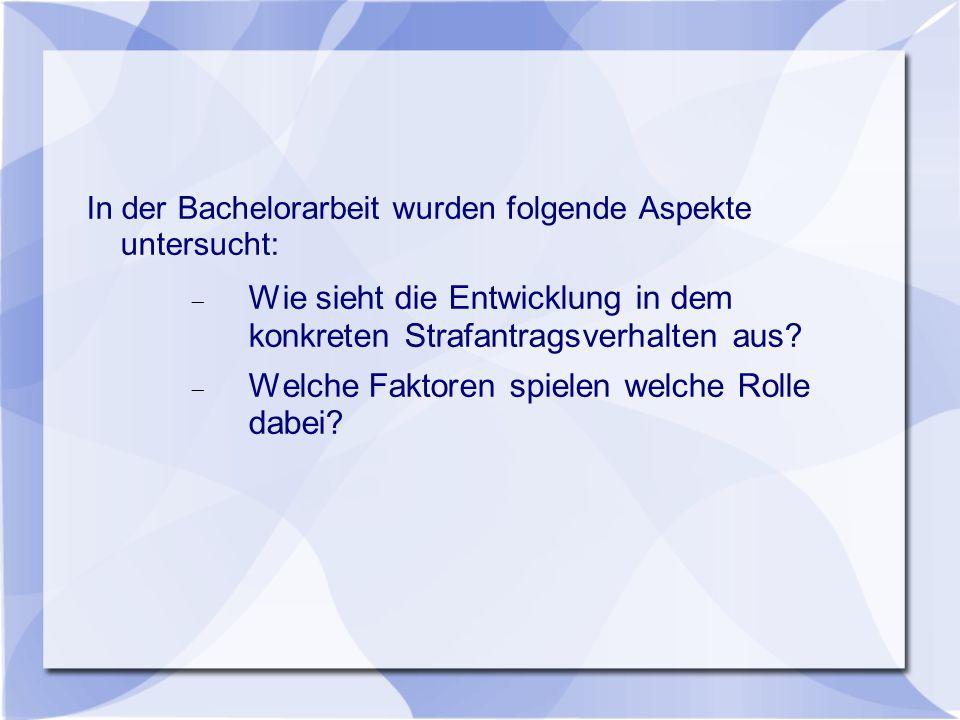 In der Bachelorarbeit wurden folgende Aspekte untersucht:  Wie sieht die Entwicklung in dem konkreten Strafantragsverhalten aus?  Welche Faktoren sp