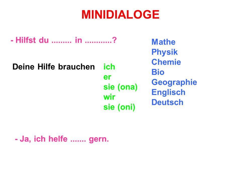 MINIDIALOGE - Hilfst du......... in............? - Ja, ich helfe....... gern. Mathe Physik Chemie Bio Geographie Englisch Deutsch Deine Hilfe brauchen