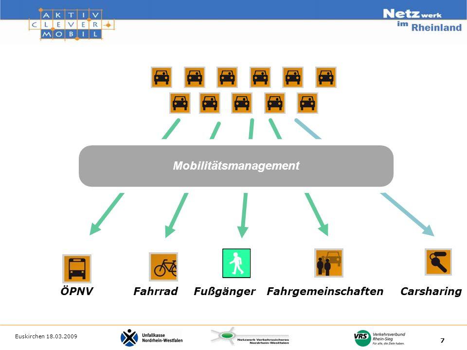 Euskirchen 18.03.2009 7 Mobilitätsmanagement ÖPNV Fahrrad Fußgänger Fahrgemeinschaften Carsharing