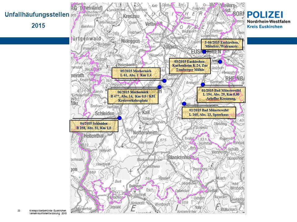 Kreispolizeibehörde Euskirchen Verkehrsunfallentwicklung 2015 Euskirchen, 15.02.2016 38 Unfallhäufungsstellen 2015