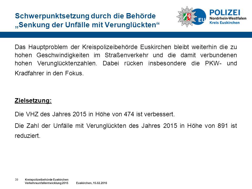 """Schwerpunktsetzung durch die Behörde """"Senkung der Unfälle mit Verunglückten"""" 39Kreispolizeibehörde Euskirchen Verkehrsunfallentwicklung 2015 Euskirche"""