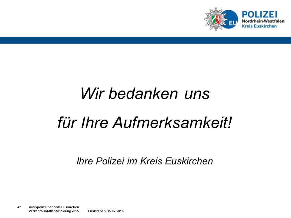 Wir bedanken uns für Ihre Aufmerksamkeit! Ihre Polizei im Kreis Euskirchen 42Kreispolizeibehörde Euskirchen Verkehrsunfallentwicklung 2015 Euskirchen,