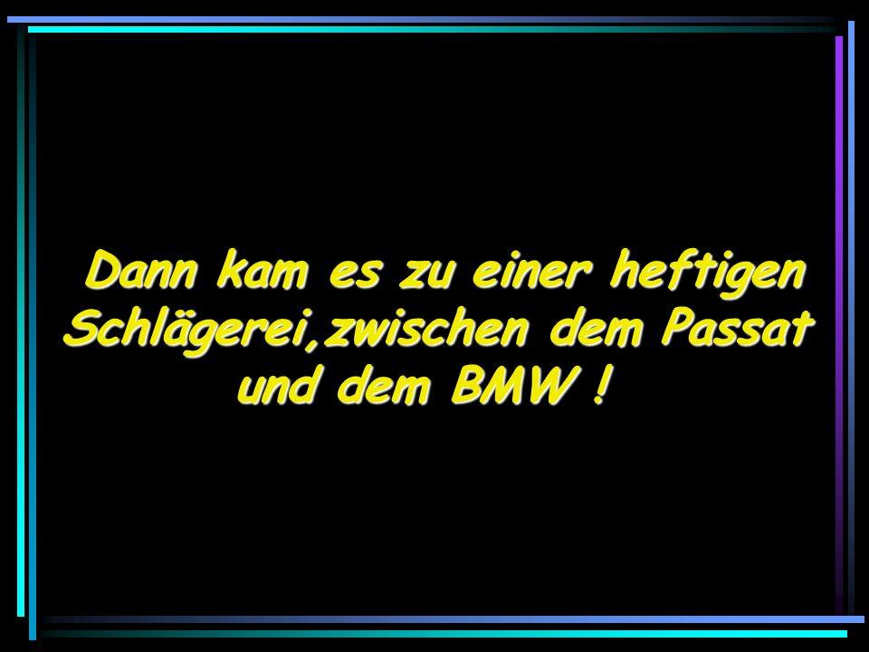 Dann kam es zu einer heftigen Dann kam es zu einer heftigen Schlägerei,zwischen dem Passat und dem BMW !