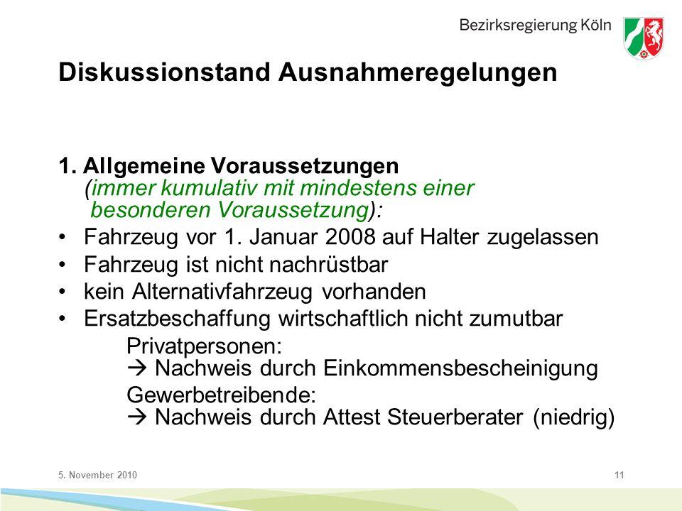 5. November 201011 Diskussionstand Ausnahmeregelungen 1.