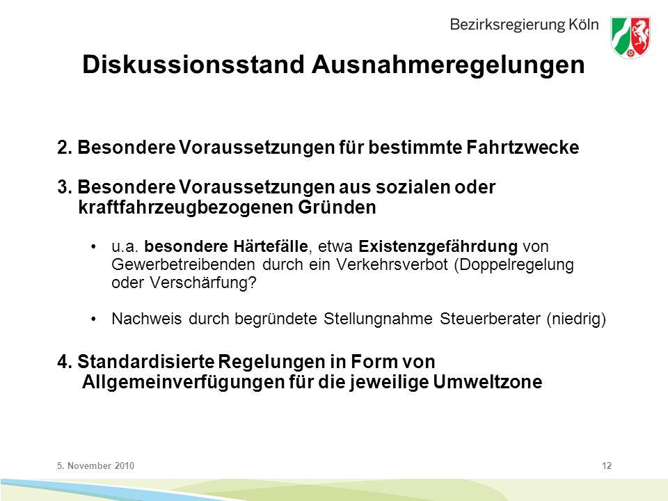 5. November 201012 Diskussionsstand Ausnahmeregelungen 2.