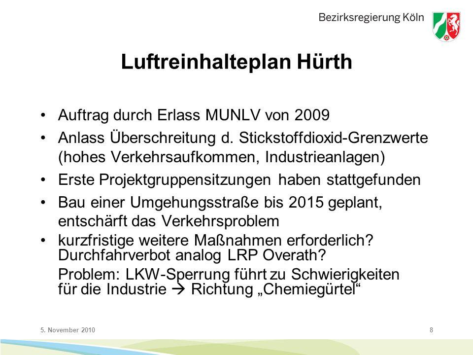 5. November 20108 Luftreinhalteplan Hürth Auftrag durch Erlass MUNLV von 2009 Anlass Überschreitung d. Stickstoffdioxid-Grenzwerte (hohes Verkehrsaufk