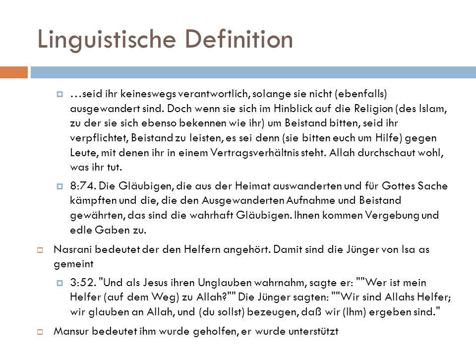 Linguistische Definition  …seid ihr keineswegs verantwortlich, solange sie nicht (ebenfalls) ausgewandert sind.