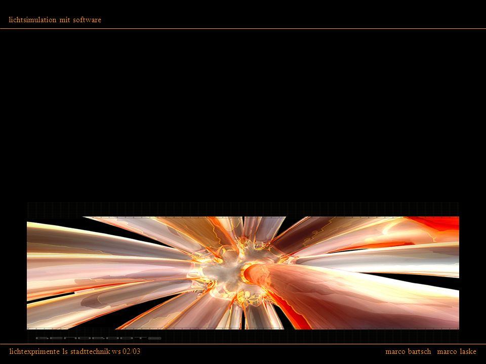 lichtexprimente ls stadttechnik ws 02/03 marco bartsch marco laske lichtsimulation mit software