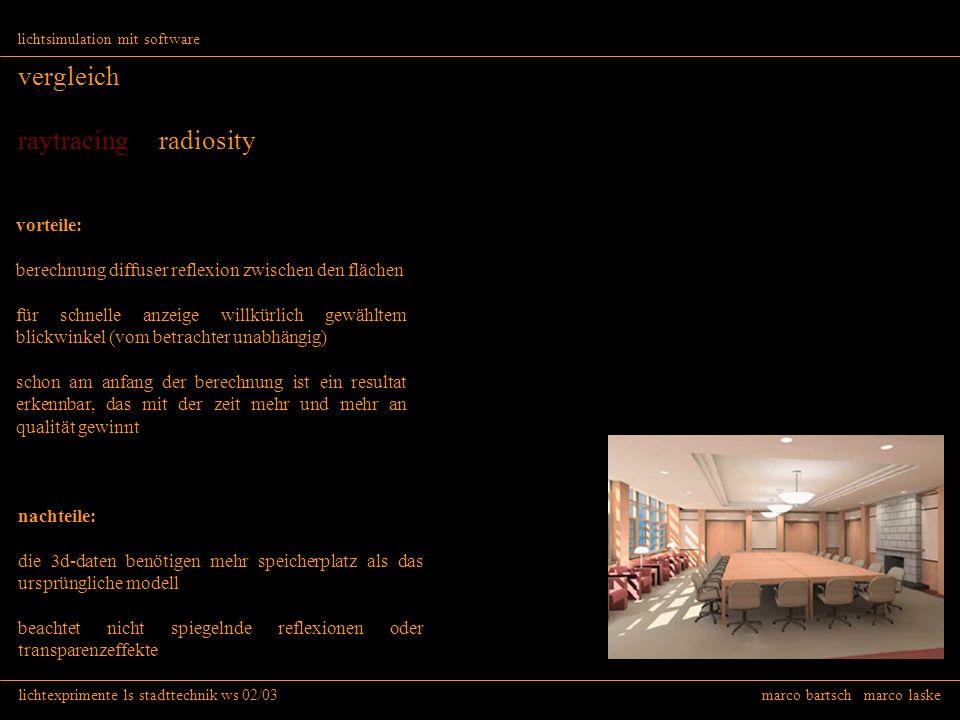 lichtexprimente ls stadttechnik ws 02/03 marco bartsch marco laske lichtsimulation mit software vergleich raytracing radiosity vorteile: berechnung di