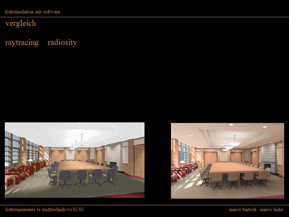 lichtexprimente ls stadttechnik ws 02/03 marco bartsch marco laske lichtsimulation mit software vergleich raytracing radiosity