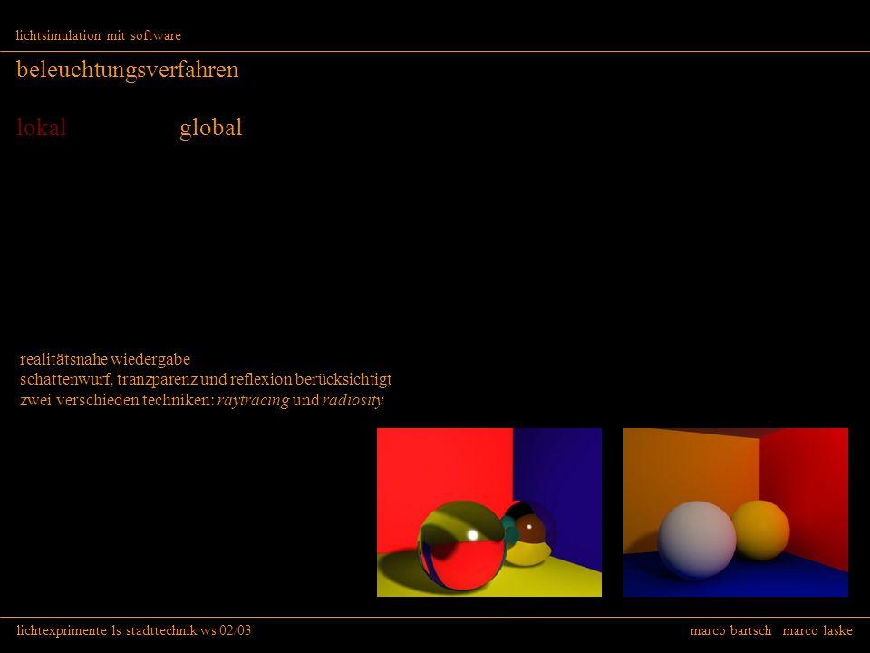 lichtexprimente ls stadttechnik ws 02/03 marco bartsch marco laske lichtsimulation mit software beleuchtungsverfahren lokal global realitätsnahe wiede