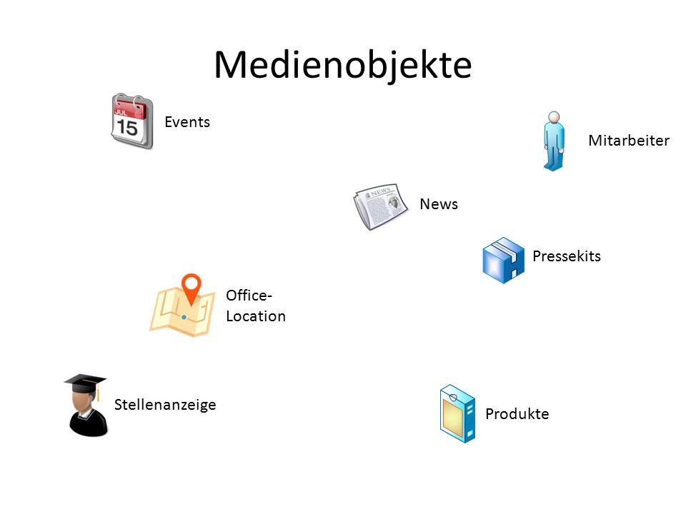 Medienobjekte Mitarbeiter Produkte Office- Location Events News Pressekits Stellenanzeige