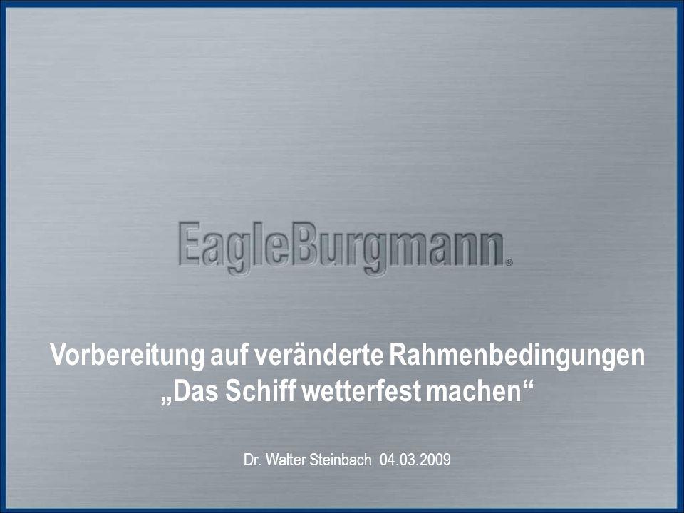 """®® Vorbereitung auf veränderte Rahmenbedingungen """"Das Schiff wetterfest machen"""" Dr. Walter Steinbach 04.03.2009"""