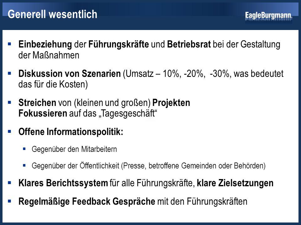  Einbeziehung der Führungskräfte und Betriebsrat bei der Gestaltung der Maßnahmen  Diskussion von Szenarien (Umsatz – 10%, -20%, -30%, was bedeutet