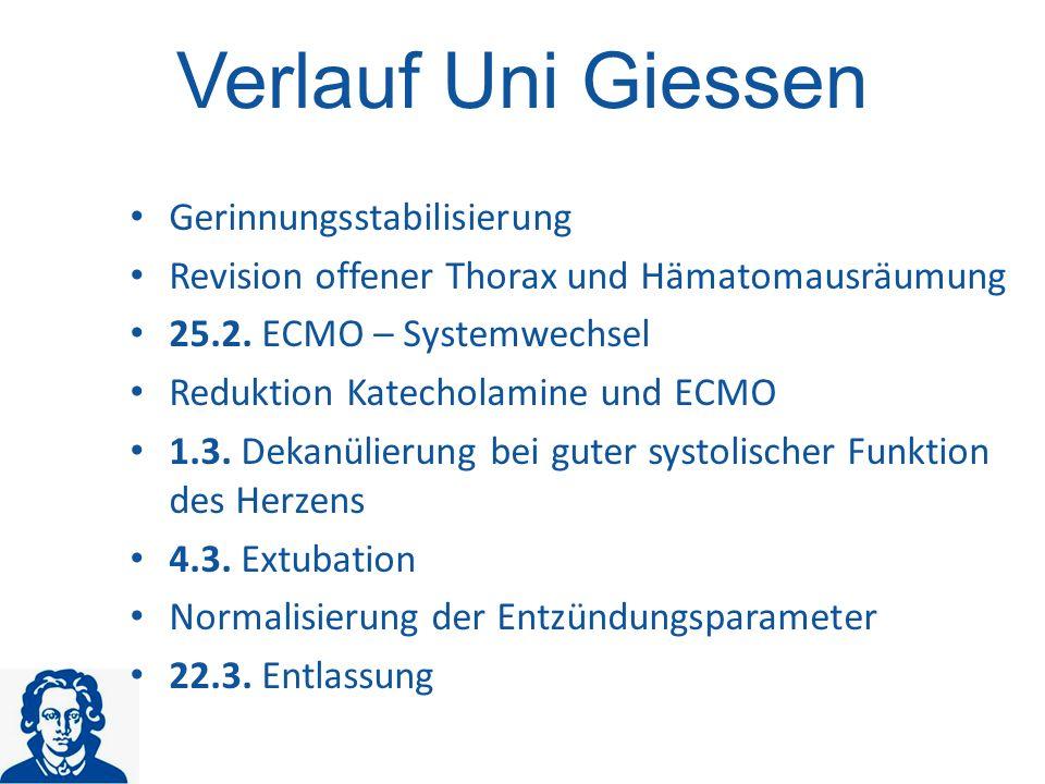 Gerinnungsstabilisierung Revision offener Thorax und Hämatomausräumung 25.2.