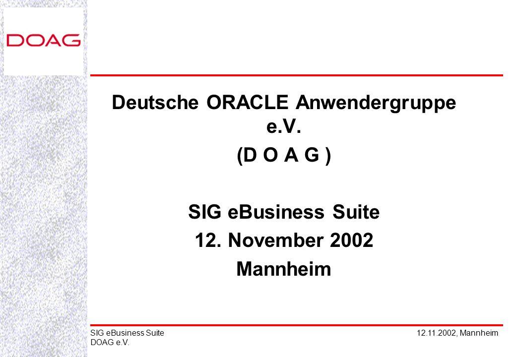 12.11.2002, MannheimSIG eBusiness Suite DOAG e.V. Deutsche ORACLE Anwendergruppe e.V.