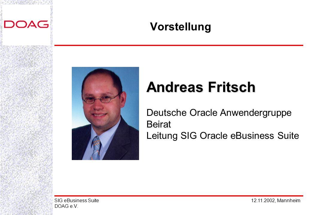 12.11.2002, MannheimSIG eBusiness Suite DOAG e.V. Andreas Fritsch Deutsche Oracle Anwendergruppe Beirat Leitung SIG Oracle eBusiness Suite Vorstellung