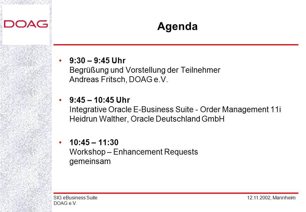 12.11.2002, MannheimSIG eBusiness Suite DOAG e.V. Agenda 9:30 – 9:45 Uhr Begrüßung und Vorstellung der Teilnehmer Andreas Fritsch, DOAG e.V. 9:45 – 10