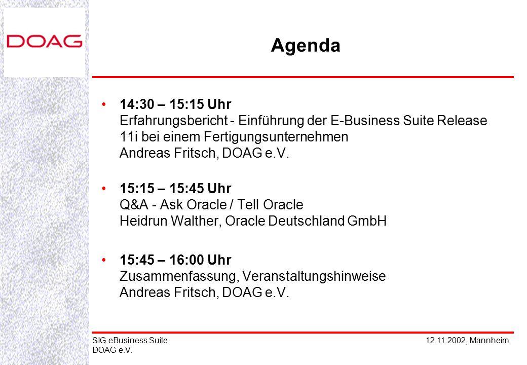 12.11.2002, MannheimSIG eBusiness Suite DOAG e.V. 14:30 – 15:15 Uhr Erfahrungsbericht - Einführung der E-Business Suite Release 11i bei einem Fertigun